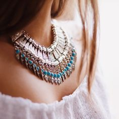 Tribal Art Statement Necklace #fashion #style #tribal #silver #statementnecklace - 22,90 € @happinessboutique.com