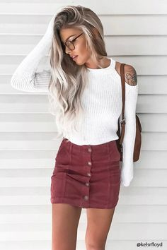 "flevure: ""thechic-fashionista: "" Get this outfit here Fall Winter Outfits, Autumn Winter Fashion, Summer Outfits, Casual Outfits, Cute Outfits, Fall Skirt Outfits, Fall Skirts, Mode Swag, Look Fashion"