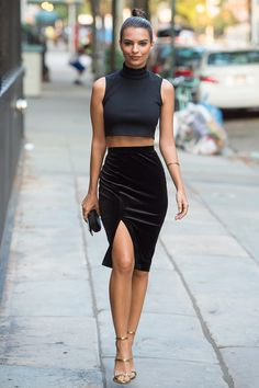 velvet side-slit pencil skirt and crop top. LOVE everything about this outfit! <3