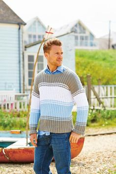 2d51bf1eb7a9af Striped Chambray Mens Jumper Knitting Pattern