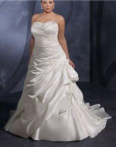 Cheap Satin Strapless Corset Sweetheart Wedding Dress For Fat Women  Free Measurement