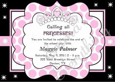 Polka Princess Birthday Party Invitation