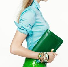 Love the accessories and the GREEN clutch!
