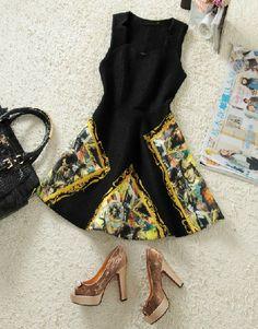 Black Square Neck Sleeveless Beauty Print Dress