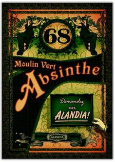 Moulin Vert represents the vividness of the 19th century. This Absinthe poster plunges you back into the glittering period of the Belle Epoque.