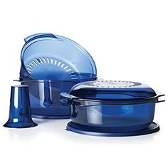 TupperWave Stack Cooker! Create quick, nutritious family favorites with this complete microwave cooking set. Prepare ingredients and stack the pieces to brown meats, cook casseroles and bake cakes in your microwave in just minutes.  Includes 3-Qt./3 L Casserole, 1¾-Qt./1.75 L Casserole, ¾-Qt./750 mL Casserole/Cover, Colander, Cone and Two Seals In Indigo/Mist Dishwasher safe Limited Lifetime Warranty