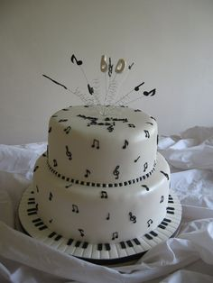 60th Music Themed cake. - First, a big Thank You to Relznik for letting me nick her ideas for this cake. Made it for a customer for her partner, who loves music. Bottom tier is Vanila Sponge with vanila bc and jam filling. The top tier is Choc sponge with Choc bc filling. All covered in Fondant and all the accents are gumpaste. TFL