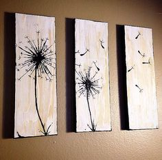 3-Piece Abstract Dandelions Canvas Painting on Etsy, $75.00