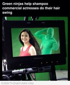 funny caption pictures green ninja people in commercial making girls hair fly