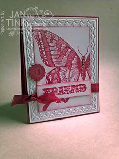 Swallowtail Friendship card by JanTInk - Cards and Paper Crafts at Splitcoaststampers Butterfly Cards, Flower Cards, Big Butterfly, Bee Cards, Scrapbooking, Friendship Cards, Card Patterns, Cards For Friends, Creative Cards