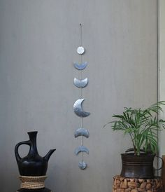 Moon Wall Decor Silver Moon Phases Wall Hanging  by CarmelsArt