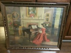 Vintage painting. Girl red dress playing piano. M. Ditlef.