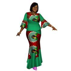 African Clothing Tops-Skirt Sets For Women Print Dashiki Cotton Wax Print  2-Pie