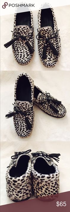 Zara Woman Pony Hair And Animal Print Loafer Adorable cheetah print Loafer with pony hair from Zara. Lovely black tassel details and rubber soles. Very chic and comfortable. In excellent used condition. Size 8. Zara Shoes Flats & Loafers