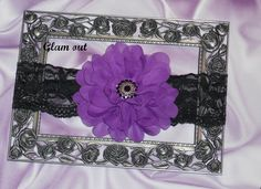 PURPLE FLOWER ON LACE HEADBAND