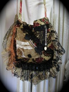 Lacey Bohemian Bag handmade gypsy embellished by GrandmaDede, $151.00