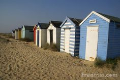 Beach Huts, Suffolk.  Change for batheing there, keep the tea things there.  Shelter from the cold North Sea wind there.