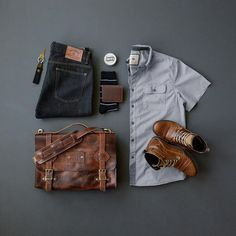 Satchel:Little King Goods //Wallet:Little King Goods // Key Fob:Little King Goods //Shirt:Dakota Grizzly //Denim:Hart N Dagger //Boots:Bullboxer // Socks:Ties.com (similar) //Leather Balm:Smith's Leather Balm Stylish Men, Men Casual, Rugged Style, Casual Outfits, Fashion Outfits, Mens Fashion, Rugged Fashion, Mode Style, Mens Clothing Styles