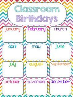 Birthday Bulletin Board In Rainbow Chevron Calendar Bulletin Boards, Birthday Bulletin Boards, Classroom Birthday, Back To School Bulletin Boards, Classroom Bulletin Boards, Classroom Posters, Preschool Classroom, Classroom Themes, Rainbow Chevron