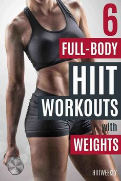 Get into shape fast with these 6 HIIt workouts with weights. HIIT is one of the best ways to lose wieght and get fit quick, here are our favorite HIIT workouts that use dumbbells or kettlebells. Kettlebell Workouts For Women, Hiit Workouts With Weights, Weights Workout For Women, Circuit Training Workouts, Hiit Workouts For Beginners, Full Body Hiit Workout, Short Workouts, Workout To Lose Weight Fast, Belly Fat Workout