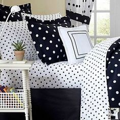 white sheets with black polkadots, every night