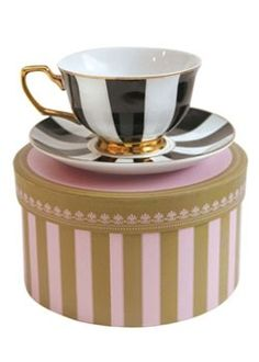Cristina Re Designer Tea Cups - Ebony Stripes