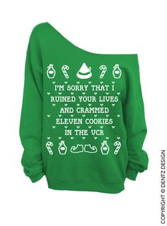Cookies Crammed VCR - ELF Ugly Christmas Sweater - Green - Slouchy Oversized Sweatshirt (This listing is for the *GREEN* sweatshirt only! Each