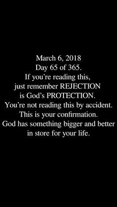 Well.. Today is March 6th and this is perfect for what's happening in my life. Thank you God