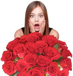 Flowers For Delivery -Impress Her With 25 GIANT, RED (Or Choose Color) Incredibly Fragrant Long Stem Roses, Top Rated Roses On Amazon from Spring in the Air Luxury Roses, PLUS A FREE GIFT MESSAGE - Will WOW Your Recipient!
