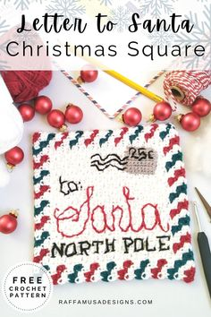 "This Christmas, write your letter to Santa all in crochet words! Make this fun 8"" (20 cm) afghan block with the mini corner to corner stitch. This crochet letter square is going to bring so much joy and holly jolly spirit into your Christmas and holiday season! #crochetchristmas #christmasblanket #christmassquares #C2C #lettertoSanta #wecrochet #afghan #block #crochetalong Holiday Crochet Patterns, Granny Square Crochet Pattern, Crochet Squares, Crochet Granny, Granny Squares, Free Crochet, Crochet Christmas Gifts, Crochet Christmas Decorations, Crochet Decoration"