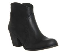 Office Cristie Back Zip Western Black Leather - Ankle Boots