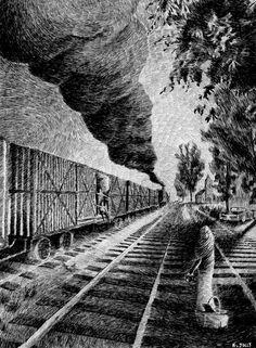 Fingerprint - Train.  Black ink drawing. By Nicolas Jolly. #art #drawing #ink