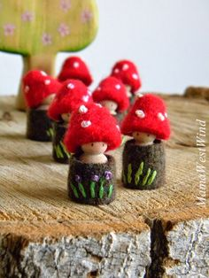 Felt little gnomes (red mushrooms) Waldorf Crafts, Waldorf Toys, Peg Doll, Felt Mushroom, Mushroom Crafts, Tiny Mushroom, Felt Fairy, Clothespin Dolls, Wooden Pegs