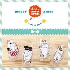 Xmas gift guide: Set of 4 Moomin plastic cups. New in store!
