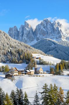 I want to visit here: previous  pinned.Winter in Santa Maddalena church, Funes, Odle, Dolomites, Italy