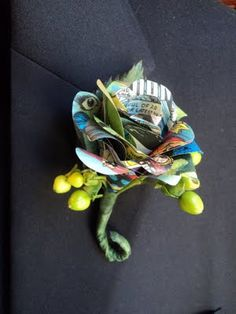 boutonniere out of a comic book.