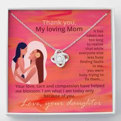 Thank You Mom Love Knot Necklace, Gift for Mom from Daughter, Mom Jewe – Shiny Jewelry Charm Christmas Gifts For Mom, Christmas Shopping, Mom Jewelry, Charm Jewelry, Tarnished Jewelry, Thank You Mom, Eternal Love, Knot Necklace, Beautiful Love