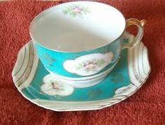 Ucagco China tea cup and saucer. Made in Occupied Japan. #collectible #tea_cup #turquoise #occupied_Japan