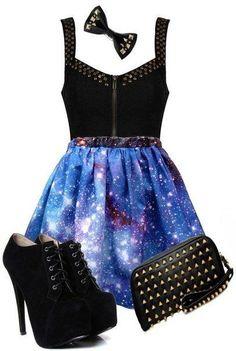 Galaxy Skirt + Studs Outfit ♥ but I prefer flats than heels Cute Fashion, Teen Fashion, Fashion Outfits, Womens Fashion, Fashion Black, Gothic Fashion, Vintage Fashion, Pretty Outfits, Pretty Dresses