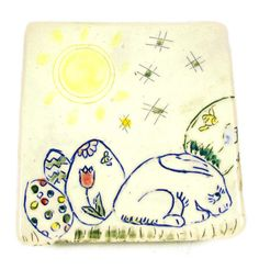 Bunny Square Plate  Handmade Ceramic  Ready to Ship by PatsPottery,