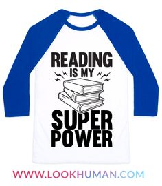 """Reading is your super power because you would rather stay inside and read all day then be around people. show of your love for books with this design that says """"Reading Is My Super Power"""""""