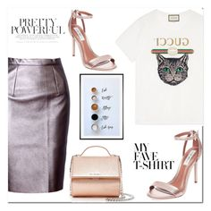 """""""My Fave T-shirt"""" by dina-795 ❤ liked on Polyvore featuring WithChic, Gucci, Steve Madden, Givenchy, Pottery Barn and MyFaveTshirt"""