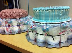 Baby Shower Diaper Cakes for Twins :)