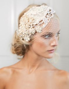 Gorgeous Daisy Birdcage headpiece from the Jannie Baltzer Collection