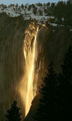 Horsetail Falls, Yellowstone. The sun hits the falls like this for just a few days in Feb