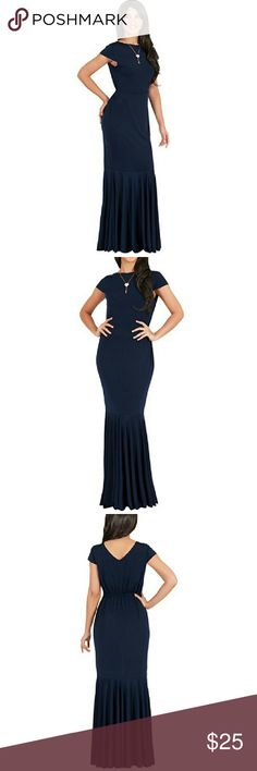 Navy L Formal Maxi Dress Bought on Amazon, wore once. Retails for $50. Link is here: https://www.amazon.com/gp/aw/d/B014KG28JA/ref=mp_s_a_1_23?ie=UTF8&qid=1483458208&sr=8-23&pi=AC_SX236_SY340_QL65&keywords=koh+koh+maxi+dress+navy Not a flimsy summer maxi dress, has some weight to it. Perfect for formals or weddings. Selling because I've lost some weight since then. Koh Koh Dresses Maxi