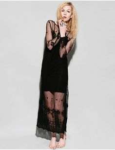 Shakuhachi long black sheer dress with daisy chain embroidered throughout. $99.00