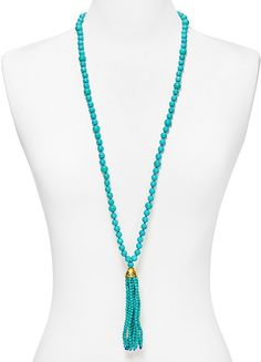 cute turquoise tassel necklace