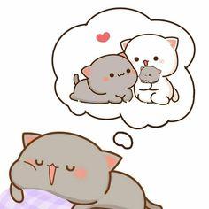 Cute Anime Cat, Cute Bunny Cartoon, Cute Kawaii Animals, Cute Cartoon Pictures, Cute Love Pictures, Cute Love Cartoons, Cute Cat Gif, Cute Cats, Cute Couple Wallpaper