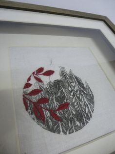 drawings printed onto fabric and over stitched by Julia Jowett Textile Design, Textile Art, Red And Grey, Black White, Machine Embroidery, Embroidery Ideas, My Journal, Fiber Art, Printmaking